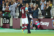 Slaven Bilic, West Ham United manager hugs Cheikhou Kouyate of West Ham United as the player is subbed off. UEFA Europa league, 3rd qualifying round match, 2nd leg, West Ham Utd v NK Domzale at the London Stadium, Queen Elizabeth Olympic Park in London on Thursday 4th August 2016.<br /> pic by John Patrick Fletcher, Andrew Orchard sports photography.