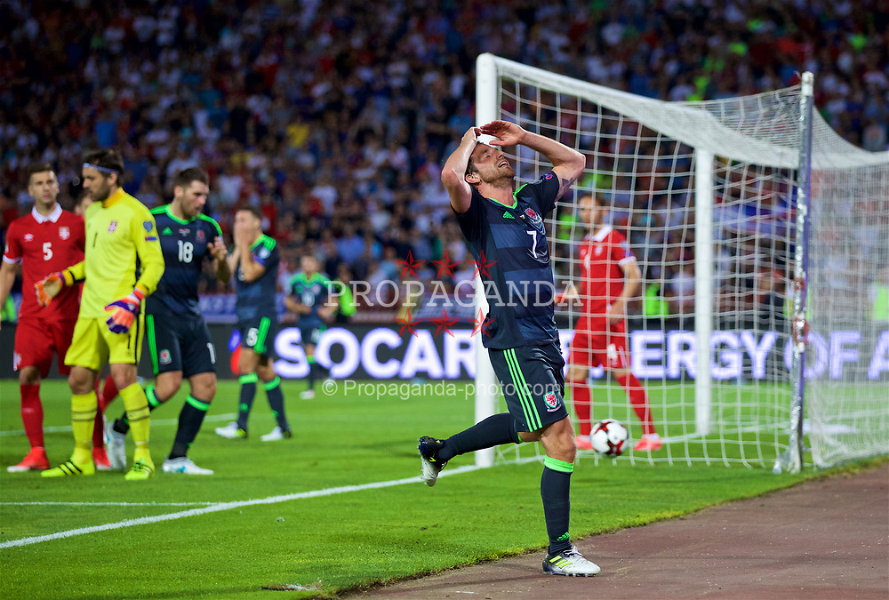 BELGRADE, SERBIA - Sunday, June 11, 2017: Wales' Joe Allen looks dejected after missing a chance during the 2018 FIFA World Cup Qualifying Group D match between Wales and Serbia at the Red Star Stadium. (Pic by David Rawcliffe/Propaganda)