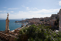 view of the italian historic city center of Gaeta, Italy, from Saint Francis church