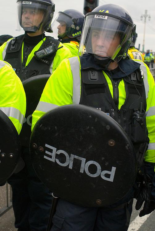 Police at a SmashEDO demonstration in Brighton. May 4 2009.