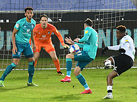 Football - 2020 / 2021 Sky Bet Championship - Swansea City vs AFC Bournemouth - Liberty Stadium<br /> <br /> <br /> Jamal Lowe shoots at goal  but his shot is blocked by Diego Rico of Bournemouth in a stadium without fans because of the pandemic crisis<br /> <br /> COLORSPORT/WINSTON BYNORTH