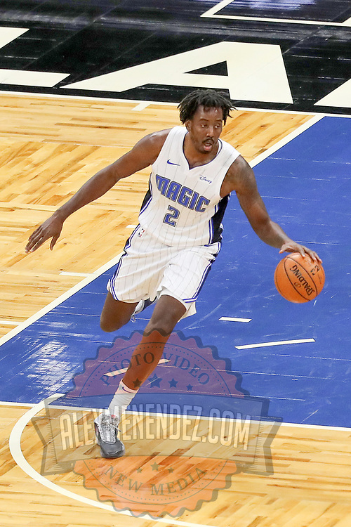 ORLANDO, FL - FEBRUARY 17:   Al-Farouq Aminu #2 of the Orlando Magic controls the ball against the New York Knicks at Amway Center on February 17, 2021 in Orlando, Florida. NOTE TO USER: User expressly acknowledges and agrees that, by downloading and or using this photograph, User is consenting to the terms and conditions of the Getty Images License Agreement. (Photo by Alex Menendez/Getty Images)*** Local Caption *** Al-Farouq Aminu