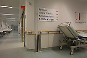 Corridor, Deutsches Rotes Kreuz (DRK - German Red Cross) Hospital, Berlin, Germany.<br /> <br /> From the chapter entitled 'A life to save' and from the book 'Risk Wise: Nine Everyday Adventures' by Polly Morland (Allianz, The School of Life, Profile Books, 2015).