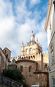Eastern facade (back) of the Old Cathedral of Coimbra (Se Velha de Coimbra) in Portugal