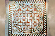 Roman geometric floor mosaic  from the Villa of Castel di Guido, Rome. 1st century AD. National Roman Museum, Rome, Italy .<br /> <br /> If you prefer to buy from our ALAMY PHOTO LIBRARY  Collection visit : https://www.alamy.com/portfolio/paul-williams-funkystock/national-roman-museum-rome-mosaic.html <br /> <br /> Visit our ROMAN ART & HISTORIC SITES PHOTO COLLECTIONS for more photos to download or buy as wall art prints https://funkystock.photoshelter.com/gallery-collection/The-Romans-Art-Artefacts-Antiquities-Historic-Sites-Pictures-Images/C0000r2uLJJo9_s0