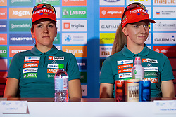 Lea Einfalt and Polona Klemencic during press conference of Slovenian Nordic Ski Cross country team before new season 2019/20, on Novamber 12, 2019, in Petrol, Ljubljana, Slovenia. Photo Grega Valancic / Sportida