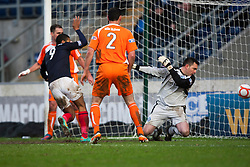 Falkirk's Lyle Taylor says he scored Falkirk's third goal, given to Falkirk's Stewart Murdoch, and claims a hat-trick from the game..Falkirk 4 v 1 Forfar Athletic, Scottish Cup fifth round tie, 2/2/2013. .©Michael Schofield.