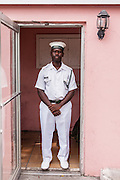 A Bahamian Navy guard at the Government House in Nassau , Bahamas.