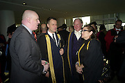 MARK RAVENHILL; MICHAEL BRANDAGE; PRINCIPAL GAVIN HENDERSON; CARRIE FISHER, . Central School of Speech and Drama presents Honory Fellowships to Carrie Fisher, Bette Bourne, Joseph Selig and Helen Lannaghan. Royal Festival Hall. London. 12 December 2011.