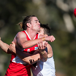 BRISBANE, AUSTRALIA - JULY 1: Stephen Mills of Redland Bombers handballs the ball during the NEAFL Round 14 match between Redland Bombers and Southport Sharks at Tidbold Park on July 1, 2017 in Brisbane, Australia. (Photo by Patrick Kearney/Patrick Leigh Perspectives)
