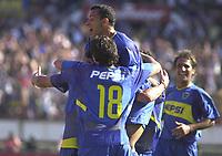 Fotball<br />Argentina<br />09/11/03 RIVER PLATE (0 ) Vs. BOCA JUNIORS (2 ). <br />Boca players are celebratin a goal.<br />Foto: Digitalsport