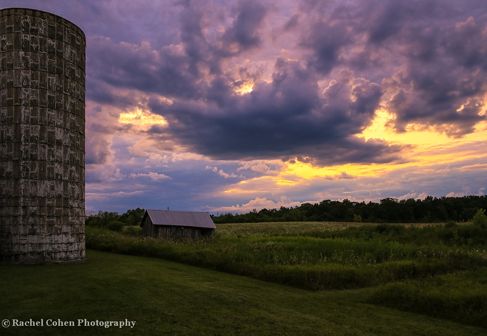"""""""Silo Sunset Two""""<br /> <br /> Wow! What an amazing sky at sunset with a grain silo and farm outbuildings on a Midwestern farm!"""
