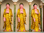 08 OCTOBER 2014 - GEORGE TOWN, PENANG, MALAYASIA: Buddha statues at Kek Lok Si Temple in George Town (also Georgetown), the capital of the state of Penang in Malaysia. Named after Britain's King George III, George Town is located on the north-east corner of Penang Island. The inner city has a population of 720,202 and the metropolitan area known as George Town Conurbation which consists of Penang Island, Seberang Prai, Kulim and Sungai Petani has a combined population of 2,292,394, making it the second largest metropolitan area in Malaysia. The inner city of George Town is a UNESCO World Heritage Site and one of the most popular international tourist destinations in Malaysia.      PHOTO BY JACK KURTZ