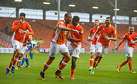 Blackpool's Kyle Vassell celebrates scoring his side's first goal with teammates<br /> <br /> Photographer Alex Dodd/CameraSport<br /> <br /> The EFL Sky Bet League One - Blackpool v Wigan Athletic - Saturday 21st October 2017 - Bloomfield Road - Blackpool<br /> <br /> World Copyright © 2017 CameraSport. All rights reserved. 43 Linden Ave. Countesthorpe. Leicester. England. LE8 5PG - Tel: +44 (0) 116 277 4147 - admin@camerasport.com - www.camerasport.com