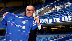 New Chelsea manager Maurizio Sarri during a press conference at Stamford Bridge, London.
