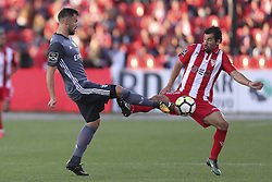 October 22, 2017 - Porto, Aves, Portugal - Benfica's Switzerland forward Haris Seferovic (L) with Aves´s player Goncalo Santos (R) during the Premier League 2017/18 match between CD Aves and SL Benfica, at Estadio do Clube Desportivo das Aves in Aves on October 22, 2017. (Credit Image: © Dpi/NurPhoto via ZUMA Press)