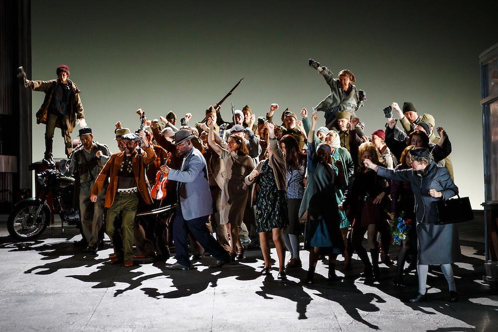 "LONDON, UK, 21 June, 2016. Members of the cast rehearse for the revival of director David Alden's production of Janacek's opera ""Jenufa"" at the London Coliseum for the English National Opera. The production opens on 23 June. Photo credit: Scott Rylander."