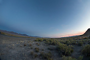 Het woestijnlandschap bij Battle Mountain in Nevada.<br />