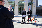 Volagi Bikes co-founders Robert Choi (left) and Barley Forsman pose for a photo outside the San Jose Superior Court in downtown San Jose, Calif., on Friday Jan. 13, 2011.  The Volagi duo were being sued by their ex-employer Specialized Bikes for design infringement and confidentiality contract breaching.  Photo by Stan Olszewski/SOSKIphoto.com