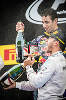 podium ambiance  HAMILTON Lewis (Gbr) Mercedes Gp Mgp W05 ambiance portrait RICCIARDO Daniel (Aus) Red Bull Renault Rb10  during the 2014 Formula One World Championship, Grand Prix of Spain from may 8 to 11th 2014, in Barcelona, Spain. Photo Vincent Curutchet / DPPI