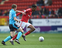 Charlton Athletic's Joe Aribo battles for the ball with Fleetwood Town's Jack Sowerby