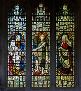 Stained glass window of Saints Peter, John, Andrew, Seend church, Wiltshire, England, UK 1891 James Powell and Sons