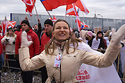 Moscow, Russia, 06/12/2007..Approximately 30,000 members of the pro Kremlin youth organisation Nashi [Ours], demonstrate outside the Kremlin in support of President Vladimir Putin, and celebrate the victory of his United Russia party in the recent parliamentary elections.
