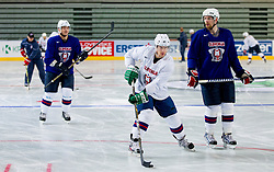 Ales Music and Andrej Tavzelj during practice session of Slovenian National Ice Hockey team first time in Arena Stozice before 2012 IIHF World Championship DIV I Group A in Slovenia, on April 13, 2012, in Arena Stozice, Ljubljana, Slovenia. (Photo by Vid Ponikvar / Sportida.com)