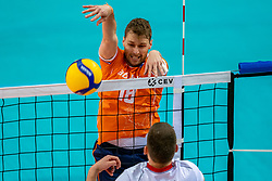 Robbert Andringa of Netherlands in action during the CEV Eurovolley 2021 Qualifiers between Croatia and Netherlands at Topsporthall Omnisport on May 16, 2021 in Apeldoorn, Netherlands