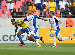 James Okwuosa of Chippa United gets hauled back by Yannick Zakri of Mamelodi Sundowns during the 1st leg of the MTN8 Semi Final between Chippa United and Mamelodi Sundowns held at the Nelson Mandela Bay Stadium in Port Elizabeth, South Africa on the 11th September 2016<br /><br />Photo by: Richard Huggard / Real Time Images