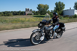 Kersten Heling on her 1922 Harley-Davidson model J (not quite as fast as her top fuel dragster she has been racing for more than 20 years!) on the Motorcycle Cannonball coast to coast vintage run. Stage 8 (314 miles) from Spirit Lake, IA to Pierre, SD. Saturday September 15, 2018. Photography ©2018 Michael Lichter.