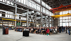 Jay Anast, Allied Defense Recycling's head of business operations, welcomes the hundreds of attendees from throughout the region gathered to celebrate the official opening of the Allied Defense Recycling, Mare Island Dry Docks.