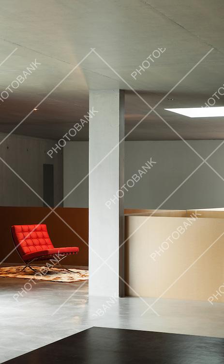 Modern living room, interior house, concrete wall