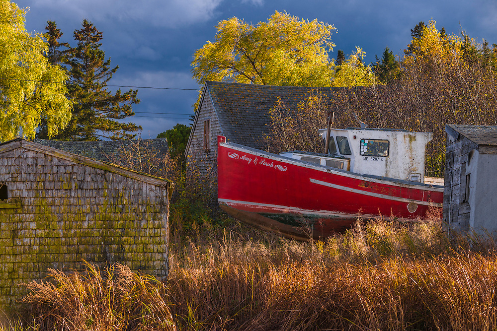 Fall colors with fishing boat in drydock, clapboard shed & home, Owls Head, ME