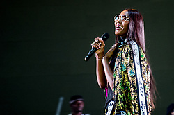 May 26, 2018 - London, England, United Kingdom - NAOMI CAMPBELL wearing Dolce & Gabbana  onstage during Afrorepublik festival announcing WIZKID at The O2 Arena.(Credit Image: © RMV via ZUMA Press)