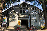 Old Matsumoto High School is still being used as an educational facility, located inside Agata Forest Park. You can see the restored principal's room and classrooms in the wooden Western-style building.  The former Matsumoto High School has been declared an Important Cultural Property. There is an adjoining auditorium used as a venue for the educational and cultural activities in Matsumoto such as concerts and exhibit presentations.  Some of the buildings are now used as part of the local university.