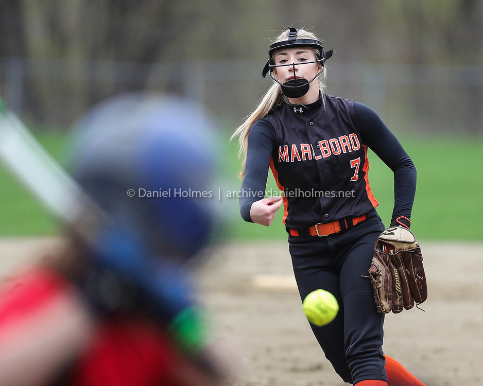 (5/1/17, MARLBOROUGH, MA) Marlborough's Olivia Larson delivers a pitch during the softball game against Hudson at Marlborough High School on Monday. [Daily News and Wicked Local Photo/Dan Holmes]
