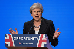 © Licensed to London News Pictures . 03/10/2018. Birmingham, UK. Prime Minister THERESA MAY delivers the Leader's Speech . Day 4 of the Conservative Party conference at the ICC in Birmingham . Photo credit: Joel Goodman/LNP
