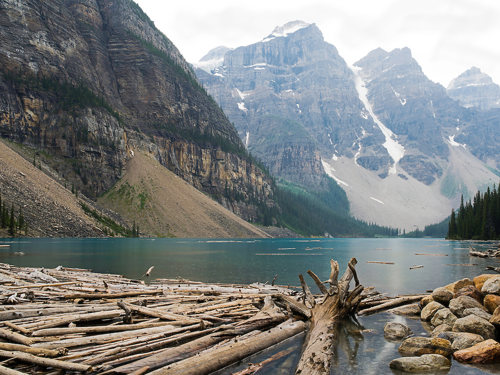 Moraine Lake on an overcast, rainy day; Banff National Park, Alberta, Canada