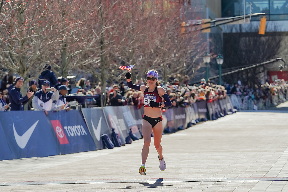 Molly Seidel finishes second, with a time of 2:27:31, in the 2020 U.S. Olympic marathon trials in Atlanta on Saturday, Feb. 20, 2020. Photo by Kevin D. Liles for The New York Times