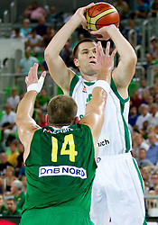 Uros Slokar of Slovenia during friendly match before Eurobasket Lithuania 2011 between National teams of Slovenia and Lithuania, on August 24, 2011, in Arena Stozice, Ljubljana, Slovenia. (Photo by Vid Ponikvar / Sportida)
