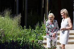 © Licensed to London News Pictures. 19/05/2014. London, England. Pictured: Mary Berry and Sophie Raworth.  Press Day at the RHS Chelsea Flower Show. On Tuesday, 20 May 2014 the flower show will open its doors to the public.  Photo credit: Bettina Strenske/LNP