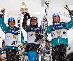 """21.01.2012, Hahnenkamm, Kitzbuehel, AUT, FIS Weltcup Ski Alpin, 72. Hahnenkammrennen, Charity race, im Bild die Sieger Mario Reiter (AUT), Hans Tschuden (AUT) und Georg Streitberger (AUT) vom Team """"A1"""" // during Charity race of 72th Hahnenkammrace of FIS Ski Alpine World Cup at 'Charity' course in Kitzbuhel, Austria on 2012/01/21. EXPA Pictures © 2012, PhotoCredit: EXPA/ Markus Casna"""