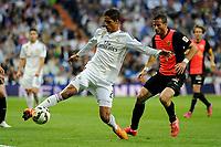 Real Madrid´s Raphael Varane and Almeria's Tommer Hemed during 2014-15 La Liga match between Real Madrid and Almeria at Santiago Bernabeu stadium in Madrid, Spain. April 29, 2015. (ALTERPHOTOS/Luis Fernandez)