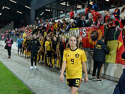 October 9, 2018 - Biel, SWITZERLAND - Belgium's Tessa Wullaert look dejected after thanking the fans after a soccer game between Switzerland and Belgium's national team the Red Flames, Tuesday 09 October 2018, in Biel, Switzerland, the return leg of the play-offs qualification games for the women's 2019 World Cup. BELGA PHOTO DAVID CATRY (Credit Image: © David Catry/Belga via ZUMA Press)
