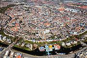 Nederland, Groningen, Groningen, 01-05-2013;<br /> Groningen-stad, centrum. Overzicht vanuit het Zuiden, Groninger  Museum onder in beeld.<br /> View on the city of Groningen, old town. Railway station and museum for Modern Art (in front of it)<br /> luchtfoto (toeslag op standard tarieven)<br /> aerial photo (additional fee required)<br /> copyright foto/photo Siebe Swart