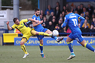 AFC Wimbledon defender George Francomb (7) battles for possession with Oxford United defender Ricardinho (Ricardo Ferreira da Silva) (21) during the EFL Sky Bet League 1 match between AFC Wimbledon and Oxford United at the Cherry Red Records Stadium, Kingston, England on 10 March 2018. Picture by Matthew Redman.