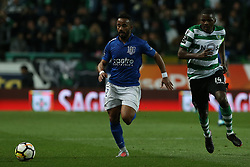 February 11, 2018 - Lisbon, Lisboa, Portugal - Feirense forward Edson Farias from Brasil (L) and Sporting CP midfielder William Carvalho from Portugal  (R) during the Premier League 2017/18 match between Sporting CP and CD Feirense at Estadio Jose Alvalade on February 11, 2018 in Lisbon, Portugal. (Credit Image: © Dpi/NurPhoto via ZUMA Press)