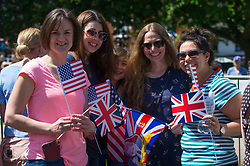 L-R Megan Layle, Detroit, Amanda Coudriet of Warren, Ohio, Claire Marcus of San Diego, California and Nichole Thompson of Redwood City, California. Excitement builds on the Long Walk on the procession route ahead of the royal wedding. Windsor, May 19 2018.