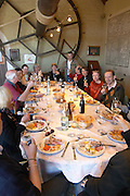 restaurant table group of people enjoying a meal clos des langres ardhuy nuits-st-georges cote de nuits burgundy france